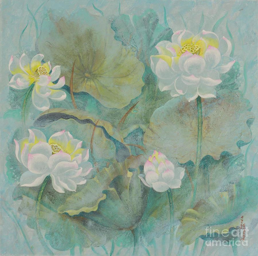 Lotus Painting - Lotus. Morning mystery by Yuliya Glavnaya