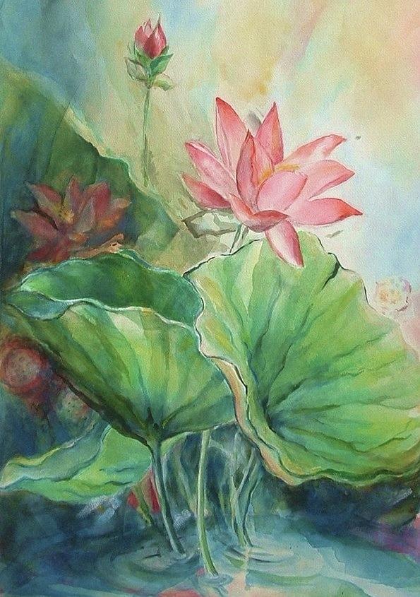 Lotus Painting - Lotus Of Hamakua by Wendy Wiese