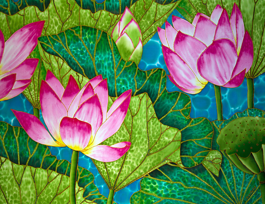 Lotus Pond Painting By Daniel Jean Baptiste