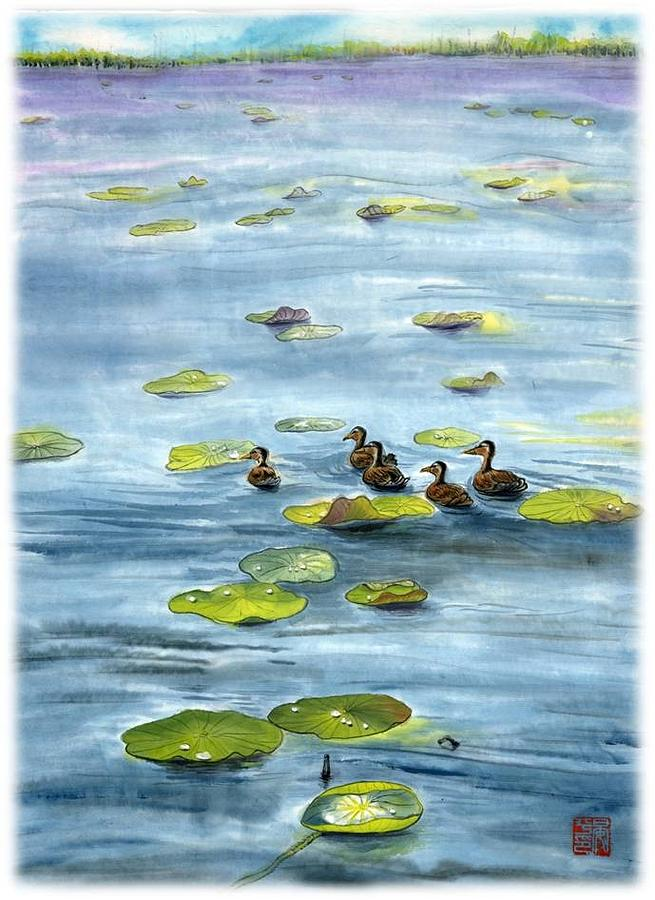Lotus Pound In Spring Painting by Ping Yan