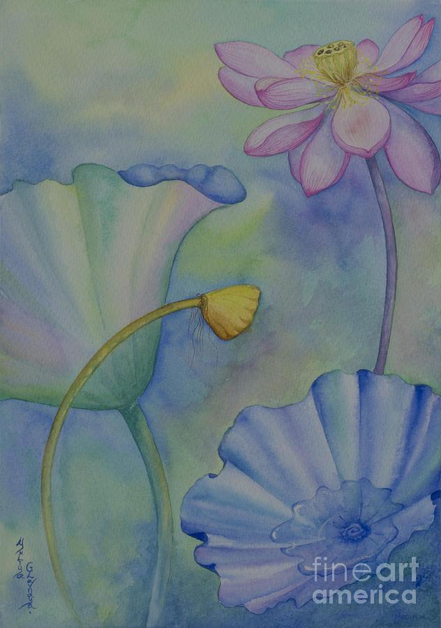 Lotus Painting - Lotus. Right part for diptych design by Yuliya Glavnaya