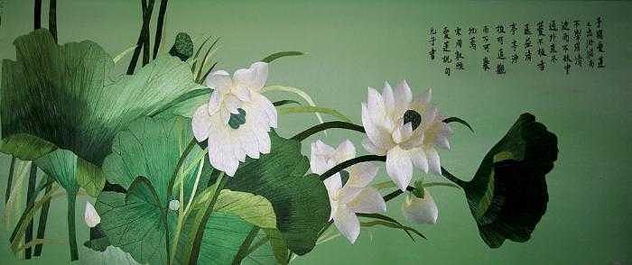 Handmade Silk Embroidery Tapestry - Textile - Lotus by Xiaohuan Sheng
