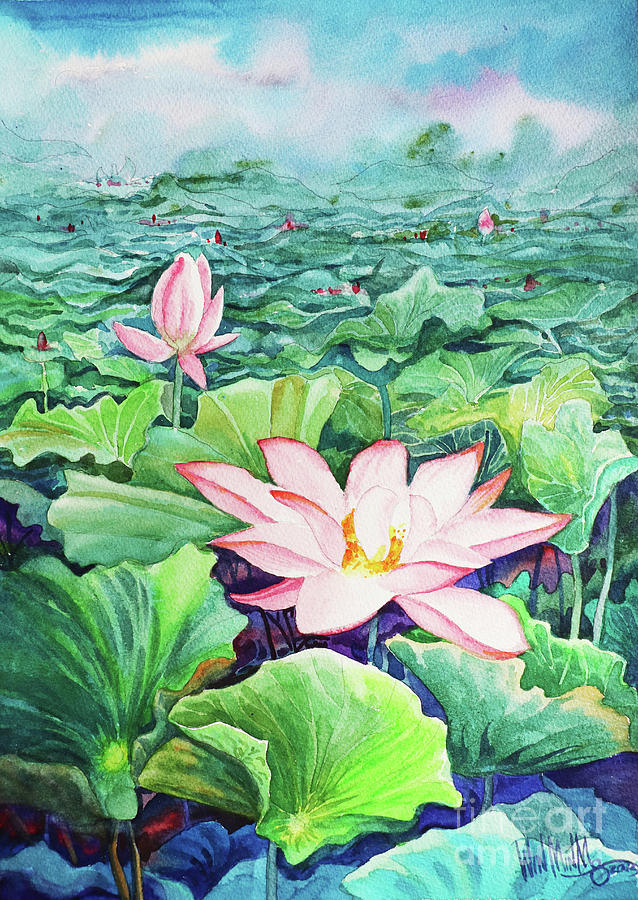 Landscape Painting - Lotus_01 by Win Min Mg