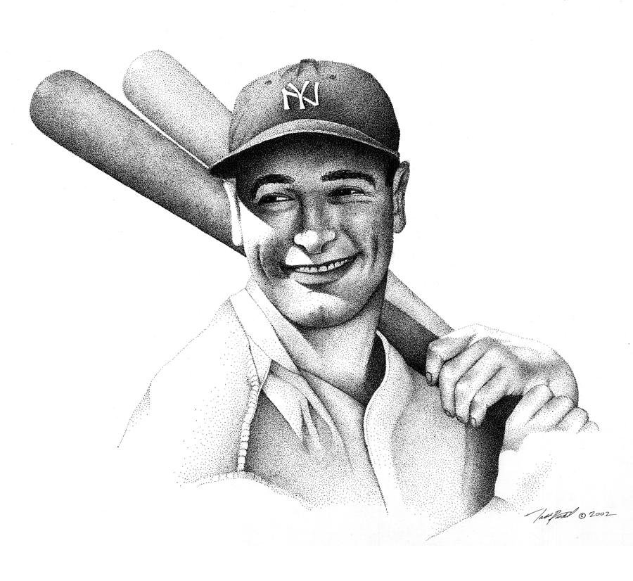 Pointillism Drawing - Lou Gehrig by Matthew Riedl