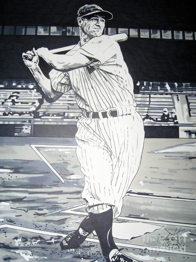 Yankees Drawing - Lou Gehrig by Neal Portnoy