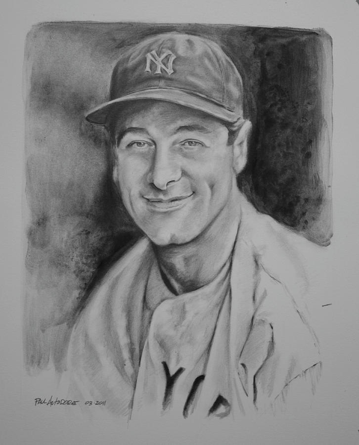 Mlb Drawing - Lou Gehrig by Paul Autodore