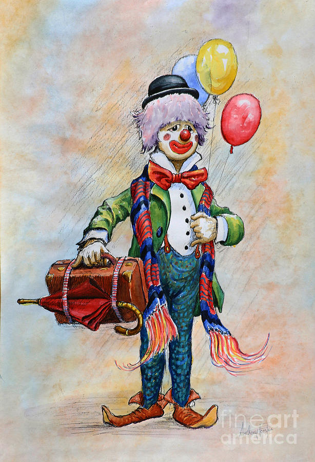 Watercolor Painting - Lou The Clown by Anthony Forster