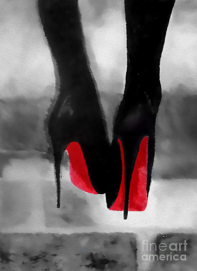 Fashion Paintings Painting - Louboutin At Midnight Black And White by Rebecca Jenkins