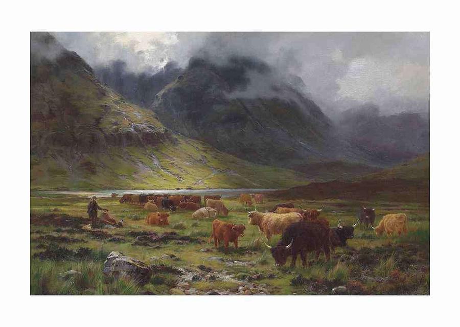 Nature Painting - Louis Bosworth Hurt 1856-1929 Highland Cattle In A Glen by Louis Bosworth Hurt