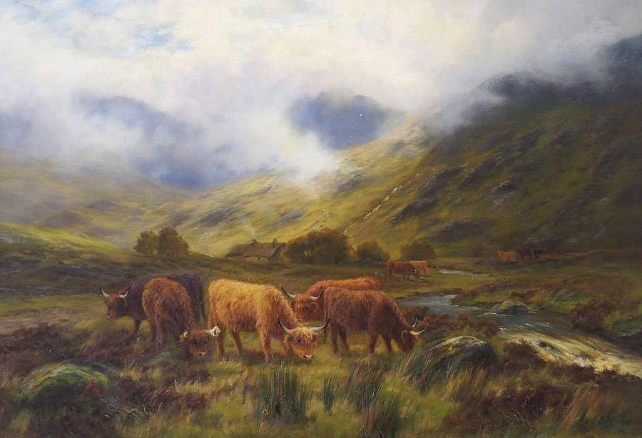 Nature Painting - Louis Bosworth Hurt British 1856 - 1929 Highland Cattle by Louis Bosworth Hurt