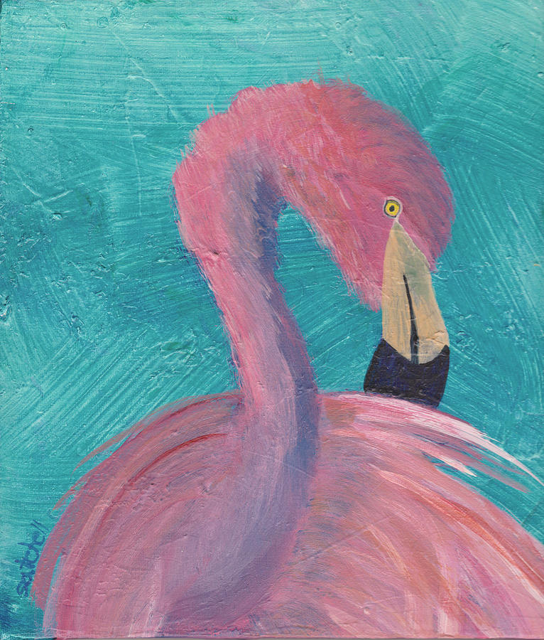 Flamingo Painting - Louis by Maura Satchell