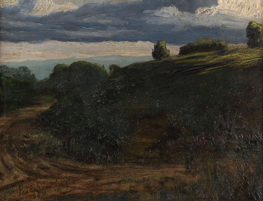 Nature Painting - Louis Michel Eilshemius American 1864-1941 Summer Twilight, 1884 by Louis Michel Eilshemius