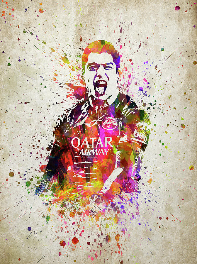 Soccer Player Digital Art - Louis Suarez In Color by Aged Pixel