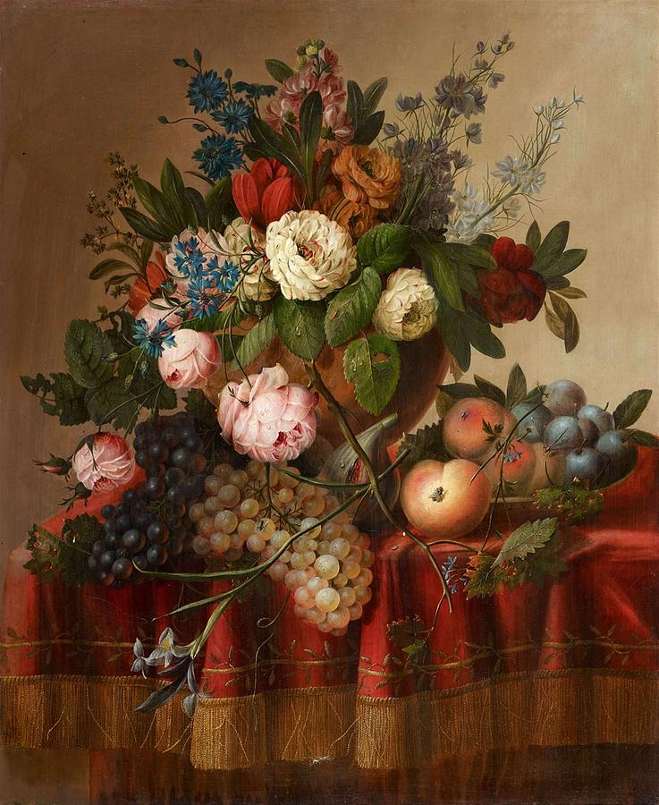Flower Painting - Louis Vidal, Still Life With Flowers And Fruit by Louis Vidal