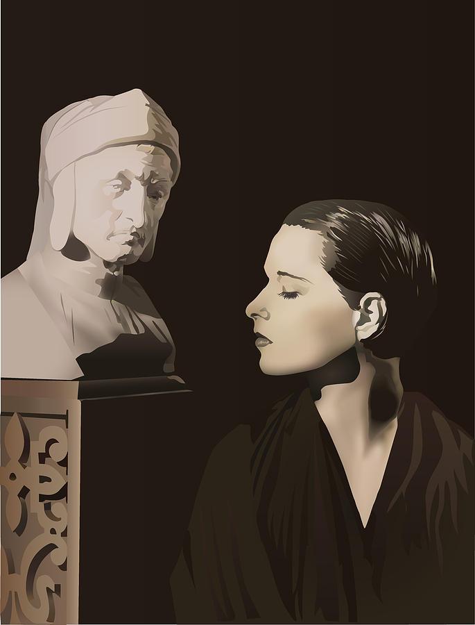 Louise Brooks Digital Art - Louise Brooks With Bust Of Dante Alighieri  by Vintage Brooks