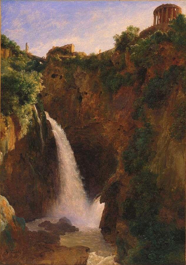 Nature Painting - Louise-josephine Sarazin De Belmont  The Falls At Tivoli by Louise-Josephine Sarazin de Belmont
