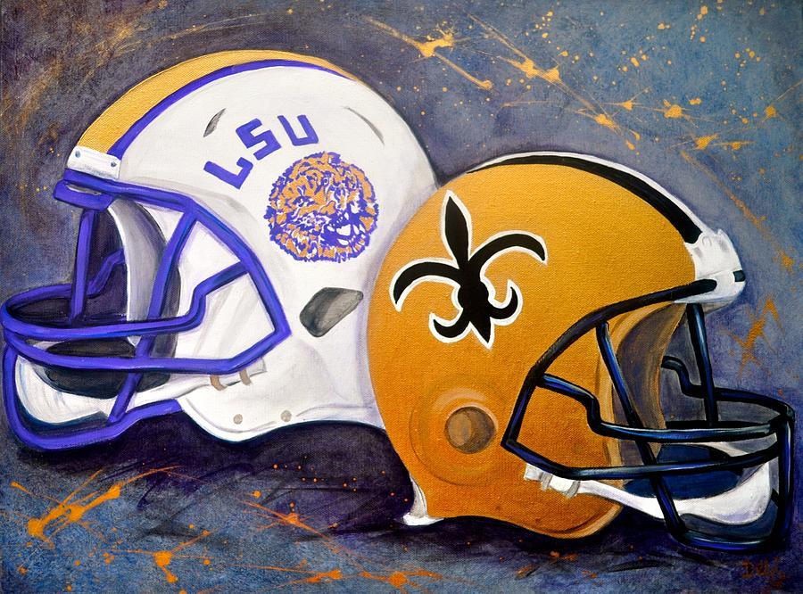 Football Painting - Louisiana Fan by Debi Starr