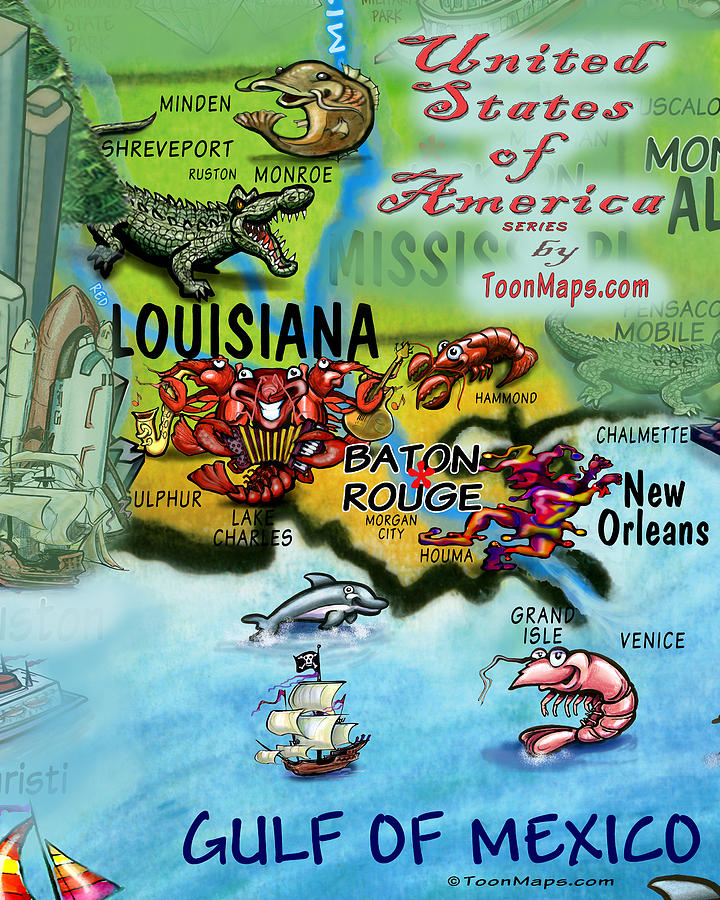 Louisiana Fun Map Digital Art