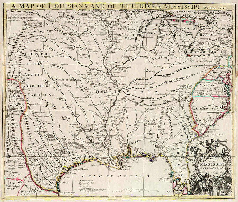 Map Painting - Map Of Louisiana And Of The River Mississippi by John Senex
