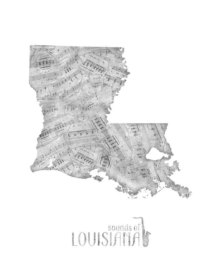 Louisiana Map Music Notes Digital Art