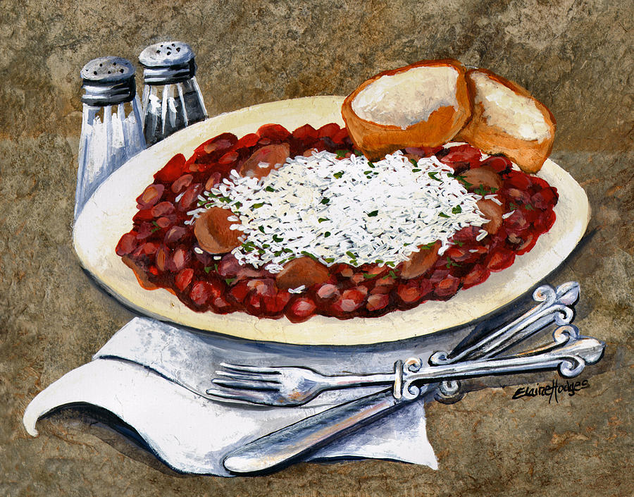 Food Painting - Louisiana Red Beans And Rice by Elaine Hodges