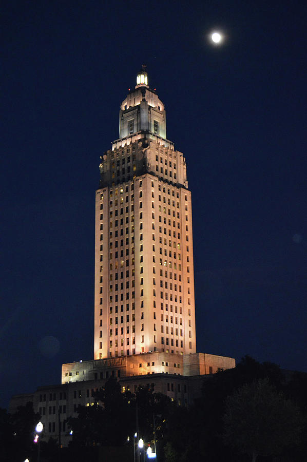 Louisiana State Capitol After Dark Photograph
