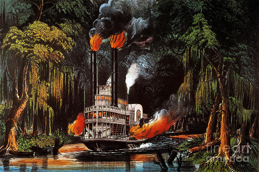 Louisiana: Steamboat, 1865 Painting by Granger