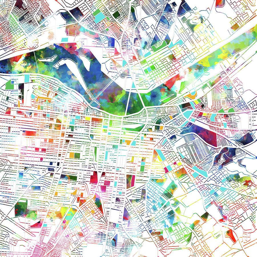 Louisville Kentucky City Map 3 Digital Art