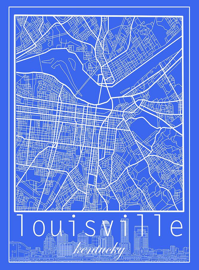Louisville Kentucky City Map 6 Digital Art