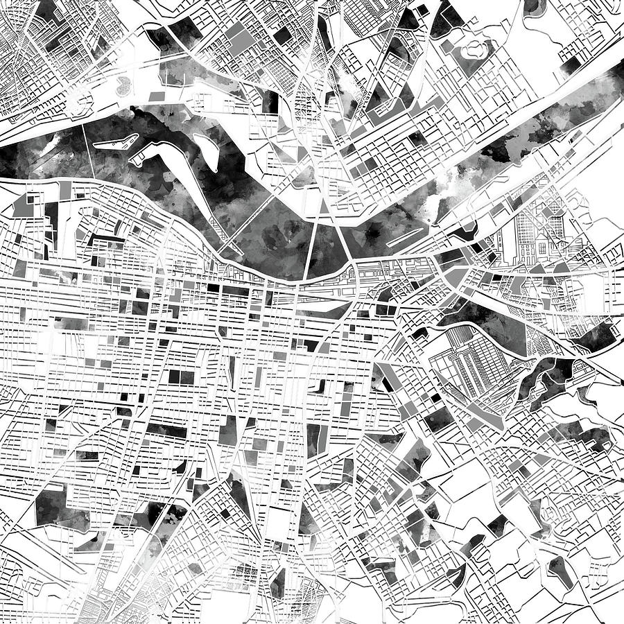 Louisville Kentucky City Map Digital Art