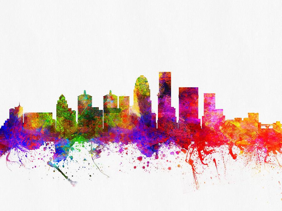 louisville kentucky skyline color02 digital art by aged pixel