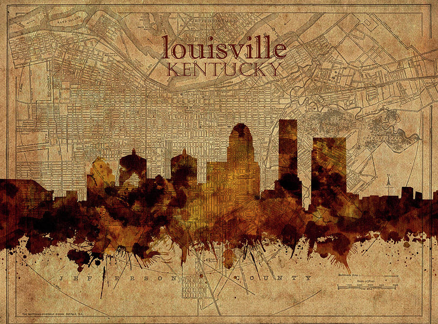 Louisville Kentucky Skyline Vintage 2 Digital Art