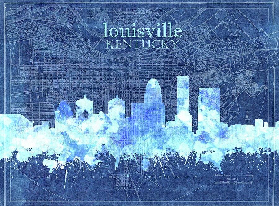 Louisville Kentucky Skyline Vintage 3 Digital Art