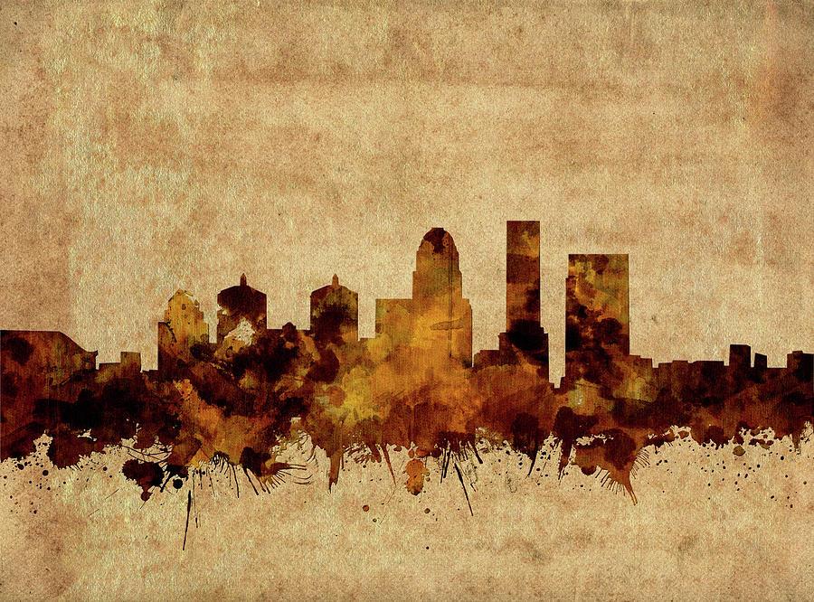 Louisville Kentucky Skyline Vintage Digital Art