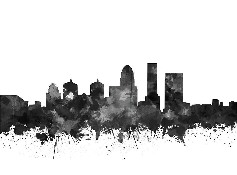 Louisville Kentucky Skyline Watercolo5 Digital Art