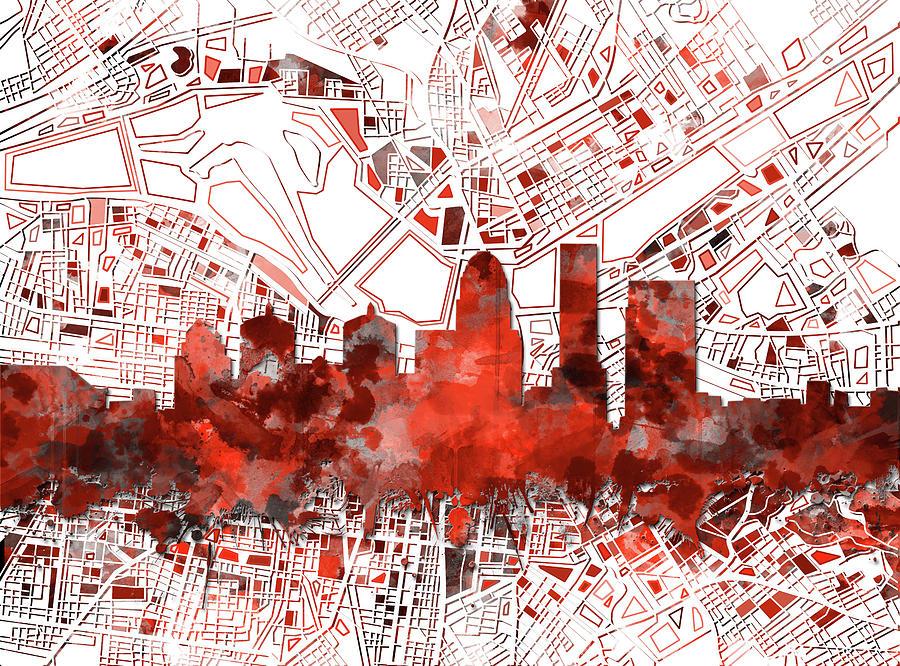 Louisville Kentucky Skyline Watercolor 10 Digital Art