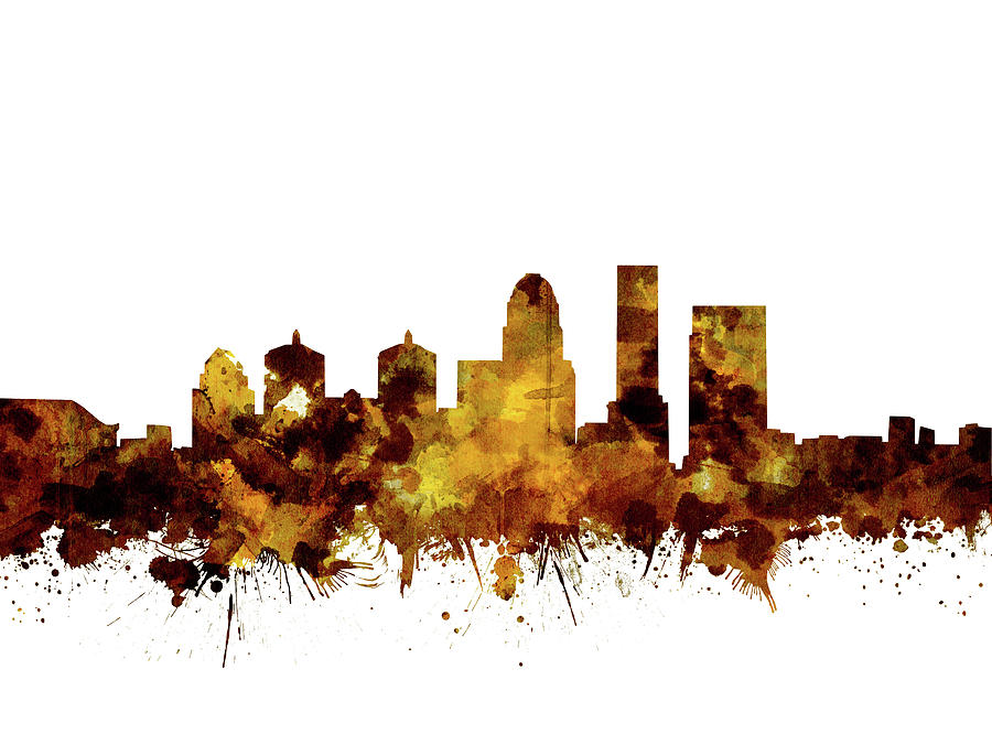 Louisville Kentucky Skyline Watercolor 2 Digital Art