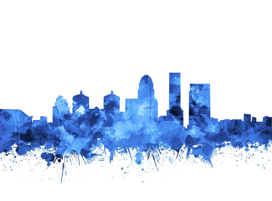 Louisville Kentucky Skyline Watercolor 4 Digital Art