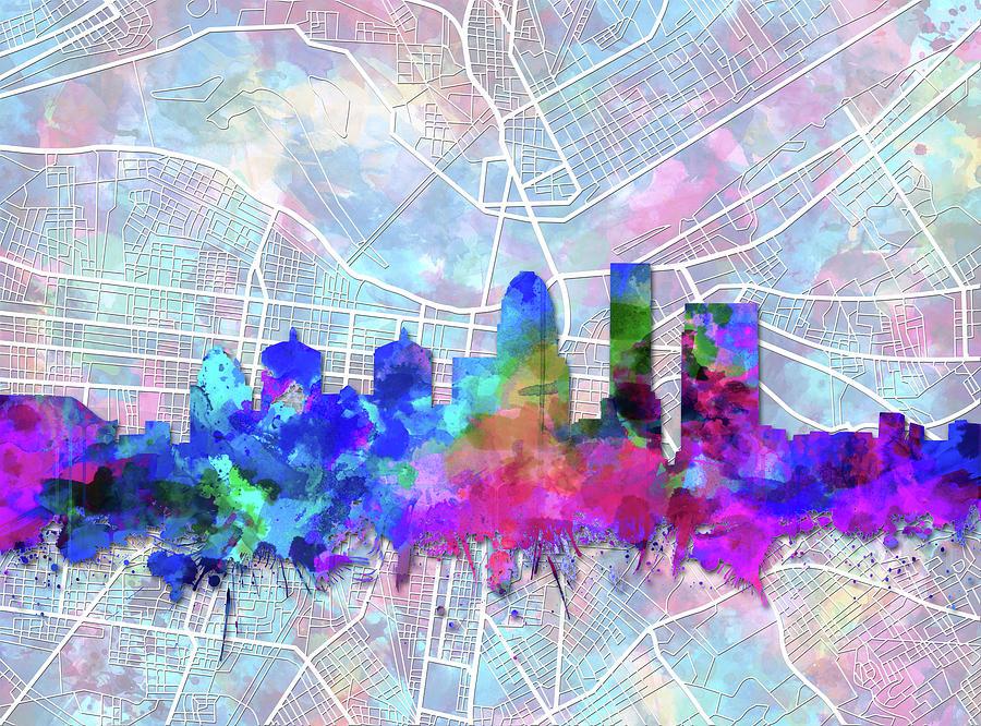 Louisville Kentucky Skyline Watercolor 5 Digital Art