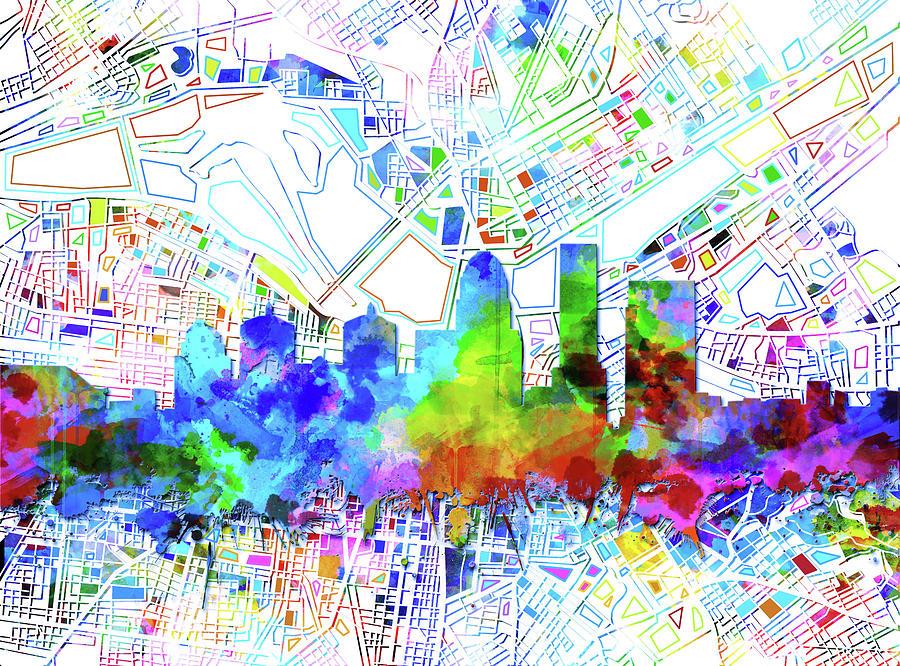 Louisville Kentucky Skyline Watercolor 8 Digital Art