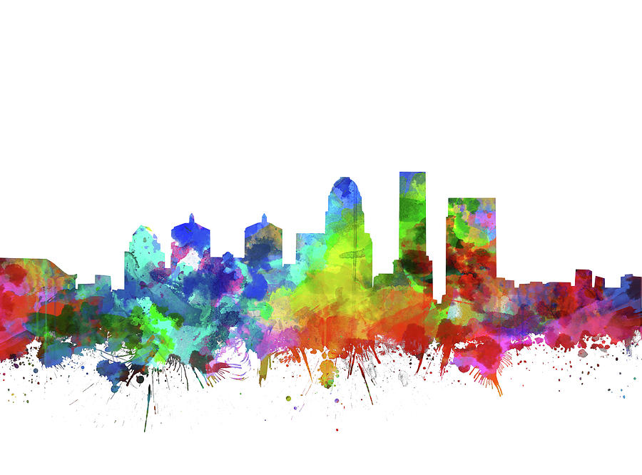 Louisville Kentucky Skyline Watercolor Digital Art