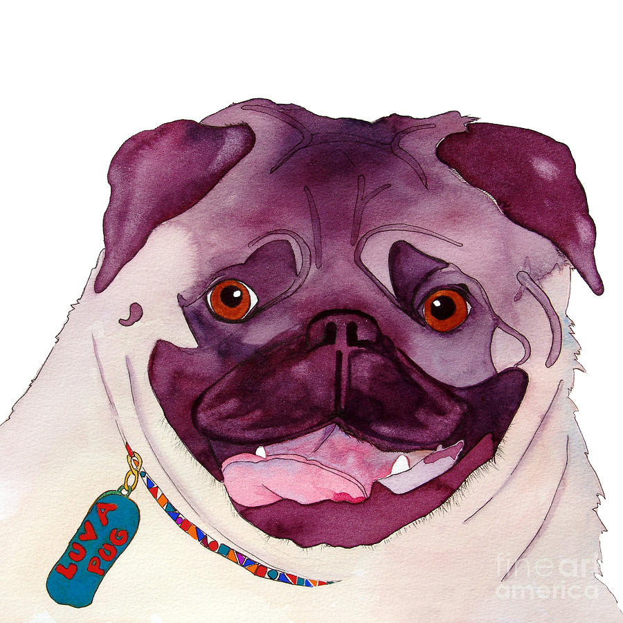 Pug Dog Painting - Love A Pug by Jo Lynch