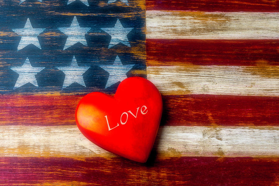 Wood Photograph - Love America by Garry Gay