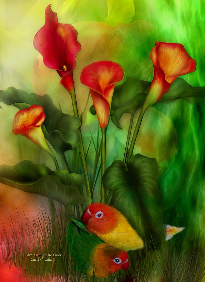 Lovebird Mixed Media - Love Among The Lilies  by Carol Cavalaris
