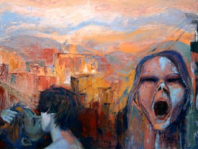 Love And Anger In The City Painting by Norma Ascencio