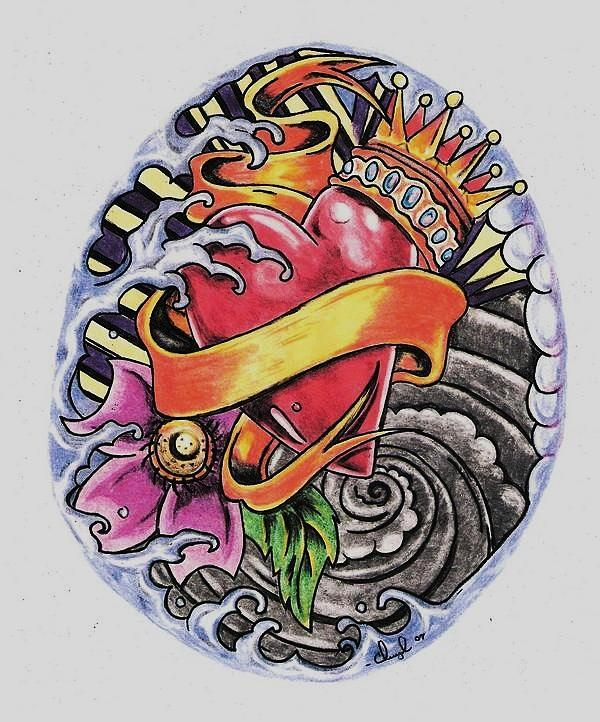 Tattoo Drawing - Love And Emotions by Cheryl Shibley