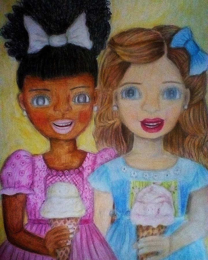 Girl Drawing - Love And Friendship  by Sunshine Amos