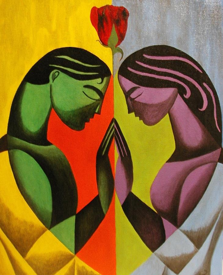 Abstract Painting - Love As One by Angelo Thomas