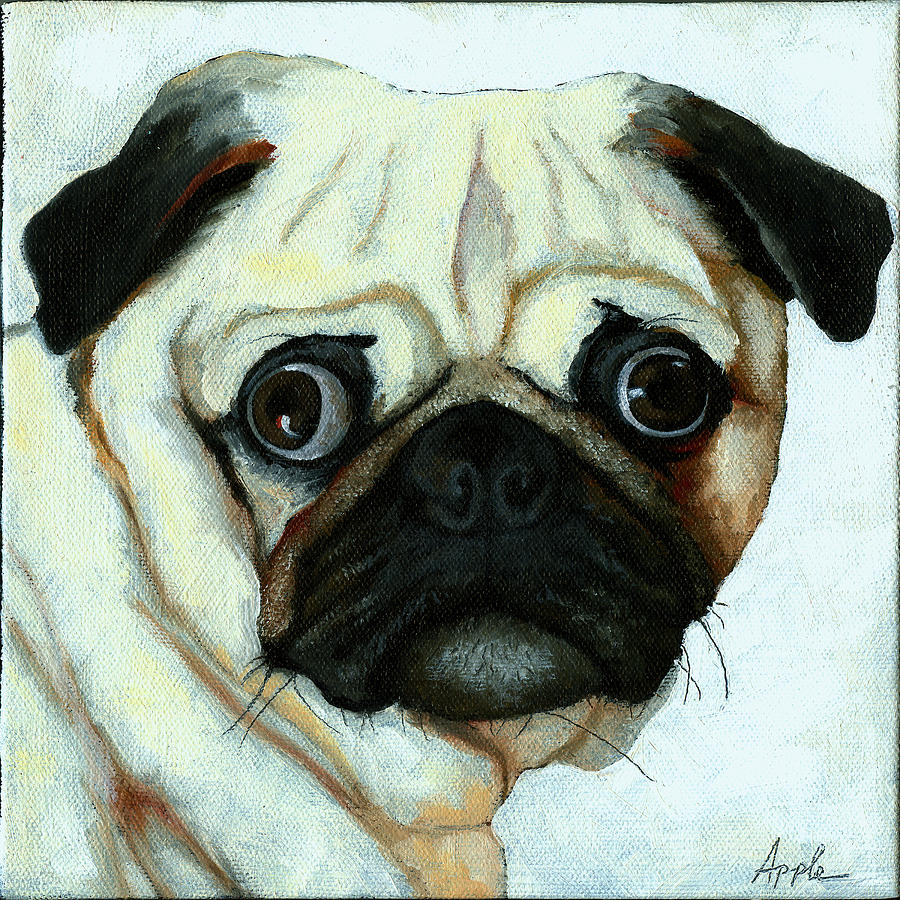 Dogs Painting - Love At First Sight - Pug by Linda Apple