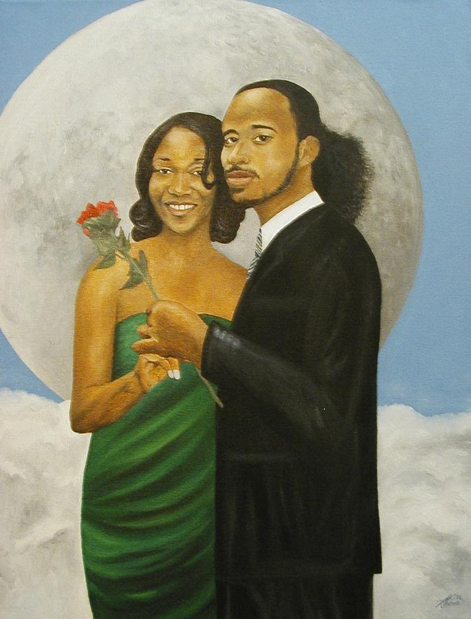 Portrait Painting - Love At Full Moon by Angelo Thomas